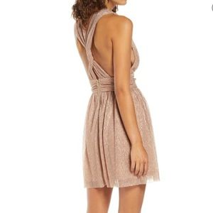 NWT Lulu's metallic stripe twist back dress XL